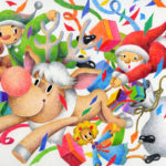 "Illustrations of ""Christmas, Santa Claus, Reindeer, Christmas present"""