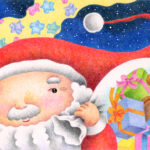 "Illustrations of ""Christmas gift, Christmas present, Teddy bear, Santa Claus"""