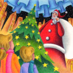 "Illustrations of ""Christmas tree, Twinkle star, Downtown, Santa Claus"""