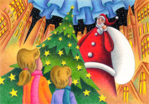 Christmas,Christmas Eve,Xmas,Santa,Santa Claus,Christmas tree,Twinkle star,Shining star,Aurora,Boy,Girl,Children,Siblings,Downtown,Building,City,Night sky,Starry sky,City lights,Fantasy