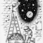 "Illustrations of ""Street vendors, Space, Star, Stardust, Planet"""