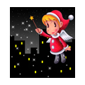 "Illustrations of ""Santa Claus, Angel, Night view, Twinkle star"""