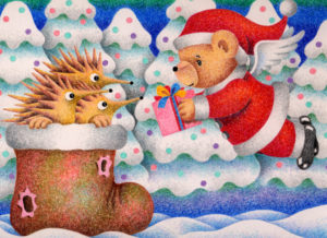 Christmas,Christmas Eve,Xmas,Santa,Santa Claus,Teddy bear,Hedgehog,Boot,Snow mountain,Christmas gift,Christmas present,Snow scene,Bear,Fairy tale,Fantasy
