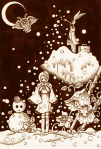 Pen drawing,Ink drawing,Pen sketch,Ink sketch,Pen and Ink,Monochrome,Sepia,Girl,Snowman,Rabbit,Owl,Flower,Object,Crescent Moon,Snow cover,Snowfall,Snow,Moonlit night,Fairy tale,Fantasy night,Fantasy