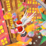 "Illustrations of ""Santa Claus, Christmas Eve, City lights, Fantasy"""