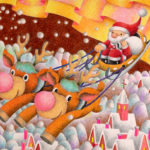 "Illustrations of ""White Christmas, Snow Country, Reindeer, Sled"""
