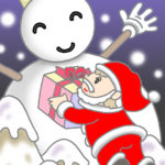 "Illustrations of ""Santa Claus, Snowman, White Christmas, Snowfall"""