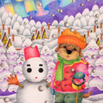 "Illustrations of ""Dog, Puppy, Snow country, Snowy mountains, Snowman"""