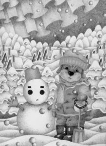 Animal,Creature,Mammalian,Cute animal,Snowy mountains,Snowy landscape,Snowman,Aurora,Dog,Puppy,Winter,Snow,Snowy field,Preparation for winter,Snow country,Snowfall,Snow cover,Snow fun