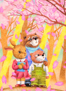 Animal,Creature,Mammalian,Cute animal,Cherry Blossoms,Cherry blossom viewing,Sunlight,Spring,Rabbit,Otter,Raccoon,Petal,Wood,Sunshine,Good friend,Fantasy,Fairy tale