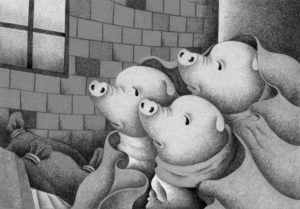 Animal,Creature,Mammalian,Cute animal,Fantasy,Fairy tale,Pig,Piglet,Three little pigs,Brick house,Indoor,Window