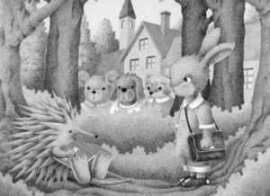 Animal,Creature,Mammalian,Cute animal,Fantasy,Fairy tale,Hedgehog,Rabbit,Bear,Dog,Otter,Student,School,Woods,Forest,Nap,Snooze