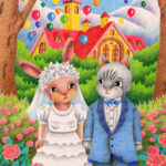 "Illustrations of ""Rabbit, Cat, Marriage, Wedding, Church"""