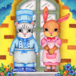 "Illustrations of ""Cat, Rabbit, Cook, Maid, Chef, Restaurant"""
