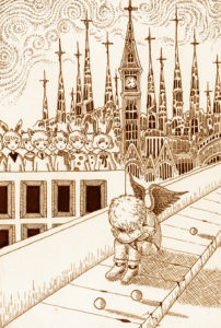 Pen drawing,Ink drawing,Pen sketch,Ink sketch,Pen and Ink,Monochrome,Sepia,Church,Cathedral,Bridge,Road,Children,Fairy,Fantasy world,Fairy Tale World,City,Tower,Spire,Loneliness