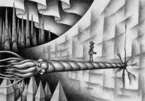SF,Science fiction,Science fantasy,Imagination,Fantasy,Fantasy science,Pencil drawing,Colored pencil drawing,Analog illustration,Illustration,Art,Painting,Hand drawn illustrations,Wall,Barrier,Castle wall,Squid,Monster,Giant creatures,Aurora,Spire,Tower,City,Different world,Fantasy,Conch,Mollusc