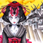 "Illustrations of ""Geisha, Courtesan, Kimono, Cyborg, Japanese Castle"""