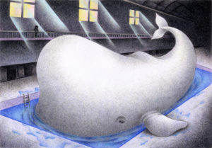 SF,Science fiction,Science fantasy,Imagination,Fantasy,Fantasy science,Pencil drawing,Colored pencil drawing,Analog illustration,Illustration,Art,Painting,Hand drawn illustrations,Moby Dick,Whale,Sperm whale,White whale,Swimming pool,Gymnasium,Giant creatures,Window,Light