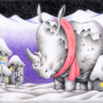 "Illustrations of ""Rhino, Snow country, Bus stop, Girl, Pet"""
