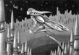 SF,Science fiction,Science fantasy,Imagination,Fantasy,Fantasy science,Pencil drawing,Colored pencil drawing,Analog illustration,Illustration,Art,Painting,Hand drawn illustrations,Alien,Space Alien,Jump,Leap,Castle wall,Castle,Tower,Spire,Starry sky,Night sky,Different world,Outer space,Strange place,Remote area,Insect