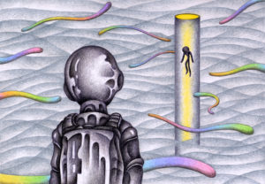 SF,Science fiction,Science fantasy,Imagination,Fantasy,Fantasy science,Pencil drawing,Colored pencil drawing,Analog illustration,Illustration,Art,Painting,Hand drawn illustrations,Alien,Space Alien,Cosmic creature,Astronaut,Spacesuit,Different world,Different space,Different dimension,Deep sea,First contact,Contact,Atmosphere