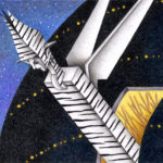 """Illustrations of """"Zebra, Spaceship, Outer space, Alien, Invader"""""""