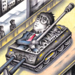 "Illustrations of ""Tank, Warfare, Armored car, Future society"""