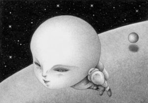 SF,Science fiction,Science fantasy,Imagination,Fantasy,Fantasy science,Pencil drawing,Colored pencil drawing,Analog illustration,Illustration,Art,Painting,Hand drawn illustrations,Alien,New mankind,Evolution,Flying,Flying man,Departure,Mutant,Space,Outer space,Planet,Heavenly bodies