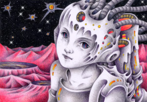 fantasy,Imagination,Fantasy,Fantasy science,Pencil drawing,Colored pencil drawing,Analog illustration,Illustration,Art,Painting,Hand drawn illustrations,Warrior,Soldier,Armed,Alien,Robot,Android,Cyborg,Remote area,Planet,Satellite,Outer space,Space,Spaceship,Crater,Wilderness,Mountain range,Weapon,Armor