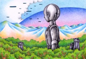 SF,Science fiction,Science fantasy,Imagination,Fantasy,Fantasy science,Pencil drawing,Colored pencil drawing,Analog illustration,Illustration,Art,Painting,Hand drawn illustrations,Alien,Robot,Android,Cyborg,Invasion,Invader,Woods,Forest,Wood,Spaceship,Unidentified flying object,Mountain range,Cloud,Mother ship,Messenger,Huge