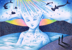 SF,Science fiction,Science fantasy,Imagination,Fantasy,Fantasy science,Pencil drawing,Colored pencil drawing,Analog illustration,Illustration,Art,Painting,Hand drawn illustrations,Ocean,Sea,Water,Sea god,Goddess,Prism,Fish,Shark,Fairy,God,Giant,Huge,Female,Beautiful woman