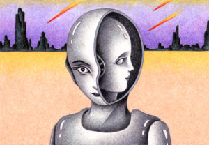 SF,Science fiction,Science fantasy,Imagination,Fantasy,Fantasy science,Pencil drawing,Colored pencil drawing,Analog illustration,Illustration,Art,Painting,Hand drawn illustrations,Android,Cyborg,Robot,Artificial intelligence,Humanoid,Dual personality,Multiple personality,Inside,Meteor,Plain,Shooting star
