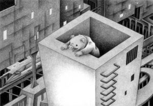 SF,Science fiction,Science fantasy,Imagination,Fantasy,Fantasy science,Pencil drawing,Colored pencil drawing,Analog illustration,Illustration,Art,Painting,Hand drawn illustrations,Guardian,Guard,Patrol,Sentine,Pig,Future city,City,Watching tower,Railway,Station,Variant,Chimney,Future world