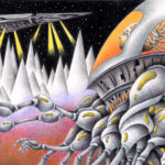"Illustrations of ""Space Alien, Artificial human, Spaceship, Mountain range"""