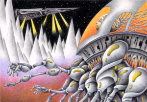 SF,Science fiction,Science fantasy,Imagination,Fantasy,Fantasy science,Pencil drawing,Colored pencil drawing,Analog illustration,Illustration,Art,Painting,Hand drawn illustrations,Monster,Alien,Cyborg,Mountain range,Space Alien,Robot,Artificial human,Remote area,Outer planet,Spaceship,Space craft,Exploration ship