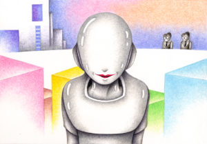 SF,Science fiction,Science fantasy,Imagination,Fantasy,Fantasy science,Pencil drawing,Colored pencil drawing,Analog illustration,Illustration,Art,Painting,Hand drawn illustrations,Robot,Android,Humanoid,Artificial intelligence,Cerebrum,AI,Lab,Future world,Future society